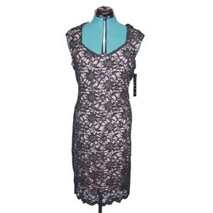 Tiana B Dress Lace Black Nude Midi Sheath 16 NEW